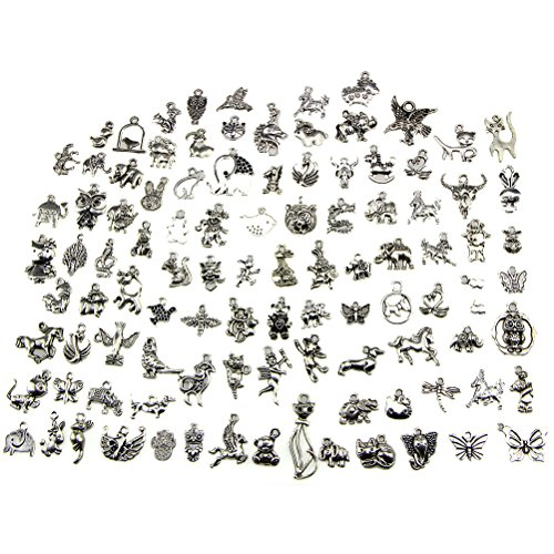 Buytra Animal Charms, Wholesale Bulk 100 Pack Mixed Tibetan Pendant Charms for Jewelry Making Bracelet Necklace DIY Crafts]()
