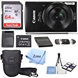 Canon PowerShot ELPH 190 Digital Camera w/10x Optical Zoom and Image Stabilization - Wi-Fi & NFC Enabled + 64GB SD card+ Case+ NB-11L Extra Battery Bundle Kit (Black)