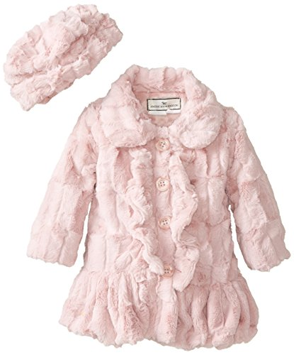 Widgeon Little Girls'  Ruffle Front Coat and Hat, Rose Sheared Mink, 3