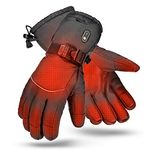 AIRGINE Heated Gloves for Men Women, Sensitive Touchscreen Waterproof Thermal Heat Gloves,Rechargeable Electric Heated Winter Gloves for All Outdoor Activities