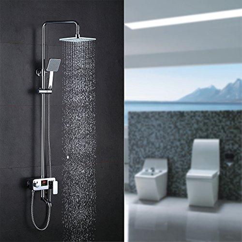 Homelody® 3-Funktion Rainshower Duscharmatur Duschsystem mit LCD Wassertemperatur Display, Duschset mit Regendusche,Handbrause und Duschstange,Regenbrause Duschpaneel