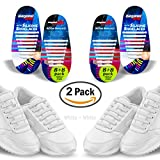 Diagonal One No Tie Shoelaces – 2 Pack. Slip On Tieless Elastic Silicone Shoe Laces for Kids, Adults & Seniors. Best for Sneakers and Casual Footwear