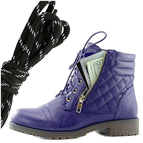 Dailyshoes Kvinners Militære Snøring Spenne Combat Boots Ankelen Høyt Eksklusivt Kredittkort Lomme, Svart Hvit Lilla Pu