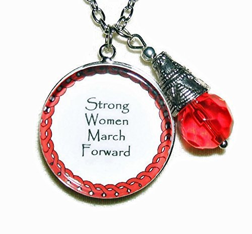 Family Unity Medallion - STRONG WOMEN Necklace MARCH FORWARD Empower Unity RED CRYSTAL Drop