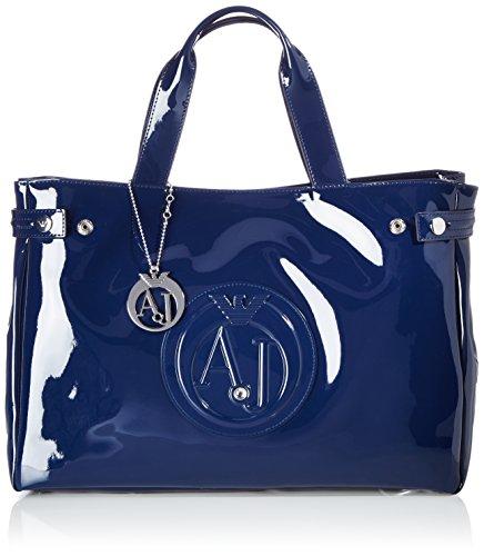 Armani Jeans Large Patent Donna Handbag Nero Blu