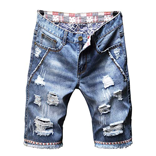 Liuhond Men's Casual Denim Ripped Mid Waist Distressed Jeans Shorts Hole Cut-Off Short Dark Blue (30, Light Blue)