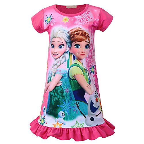 KIDHF Little Girls Comfy Loose Fit Princess Pajamas Toddler Nightgown Dress -