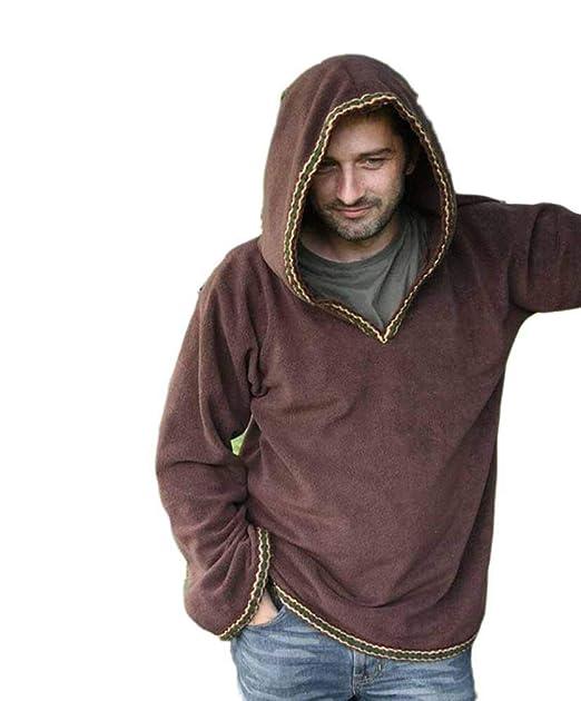 Disfraz Medieval Hombre Tops de túnic Manga Larga Encapuchado ...
