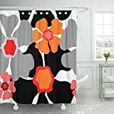 Pink and Black Shower Curtain Fabric Emvency Shower Curtain Gray 1950S Retro Floral Pattern 1960S Collection Abstract Grey Red Pink Orange Black on White Beautiful Waterproof Polyester Fabric 72 x 72 inches Set with Hooks