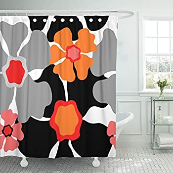 Emvency Shower Curtain Gray 1950S Retro Floral Pattern 1960S Collection Abstract Grey Red Pink Orange Black on White Beautiful Waterproof Polyester Fabric 72 x 72 inches Set with Hooks