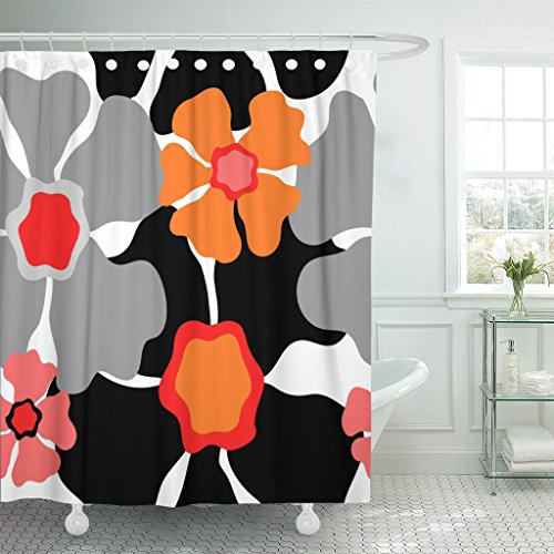 Emvency Shower Curtain Gray 1950S Retro Floral Pattern 1960S Collection Abstract Grey Red Pink Orange Black on White Beautiful Waterproof Polyester Fabric 72 x 72 inches Set with Hooks (Gray And Curtain Coral Shower)