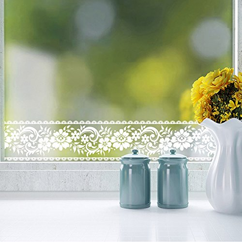 - 3.94in. X 32.8ft. Roll White Lace Transparent Removable Self Adhesive Wallpaper Border Peel and Stick Wall Border Waterproof Window Film Glass Sticker Bathroom Mirror Decor Rustic Floral