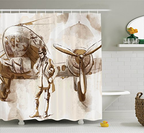 Airplane Shower Curtain by Ambesonne, Watercolor Design of a Pilot with His Aircraft Flying Aviation Theme Traveling, Fabric Bathroom Decor Set with Hooks, 70 Inches, Brown (Aircraft Gift Set)