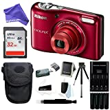 Nikon COOLPIX L32 Digital Camera with 5x Wide-Angle NIKKOR Zoom Lens + 32GB SDHC Memory Card + Battery Charger + Camera Case + DigitalAndMore Digital Camera Accessory Bundle
