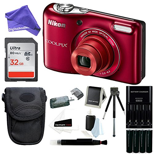 Nikon COOLPIX L32 Digital Camera with 5x Wide-Angle NIKKOR Zoom Lens + 32GB SDHC Memory Card + Battery Charger + Camera Case + DigitalAndMore Digital Camera Accessory Bundle (Zoom Lens Package)