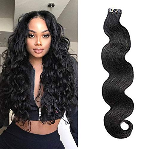 LaaVoo 12 inch Popular Natural Black Body Wave Invisible Tape on Extensions 20 Pieces Per Package Tape in Wavy Human Hair Extensions 50gram