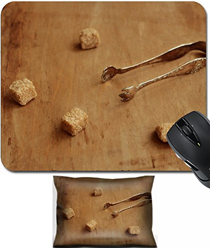 Silver Computer Mouse Plated (MSD Mouse Wrist Rest and Small Mousepad Set, 2pc Wrist Support design 30179406 Vintage silver plated sugar tongs and pieces of cane sugar over aged brown background)