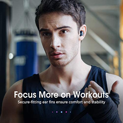 Wireless Earbuds, Mpow M12 Bluetooth Earbuds, Wireless Charging & USB-C Charging Case Bluetooth Headphones Wireless Earphones w/Mic, Bass Sound/IPX8 Waterproof/Touch Control/25 Hrs/Dual Modes, Blue