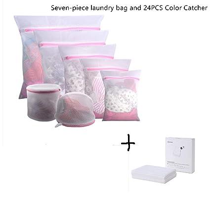 Amazon com: 7Pcs Mesh Laundry Bags and 24Pcs Color Catcher