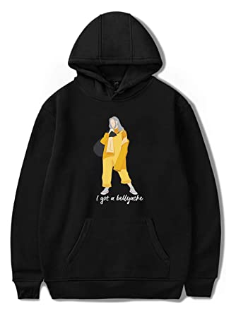 SIMYJOY Billie Eilish Bellyache Hoodie Pullover Hiphop Street Fashion Oversized Sweatshirt Black 2XS