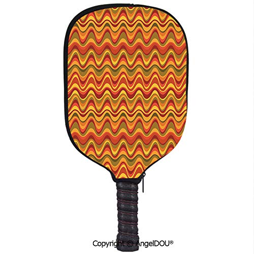 AngelDOU Geometric Waterproof Zipper Single Pickleball Paddle Racket Cover Case Desert Dune Pattern Abstract Design Warm Color Palette Funky Old School Art Style Decorative for for Most Rackets.Multic
