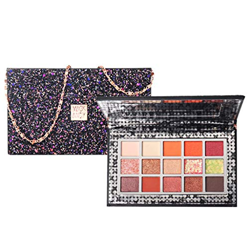 Pretending as a bag ! NOGOQU 15 Color Magnificent Matte Shimmer Pressed Pearl EyeShadow for Valentine's Day Wedding Evening Party, Christmas gifts for Women, Mom, Girlfriend, Daughter. (Black) ()