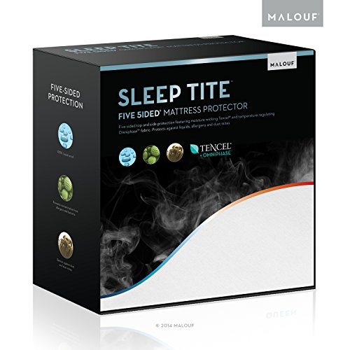 MALOUF Sleep TITE FIVE-5IDED Hypoallergenic Mattress Protector with OMNIPHASE and Tencel - 100% Waterproof - Regulates Temperature - 15-Year U.S. Warranty - Vinyl Free - King from MALOUF