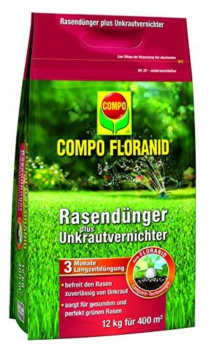 Compo Rasenpflege Floranid dünger plus Unkrautvernichter 12 kg für 400 m², grün