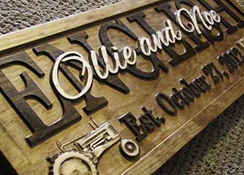 Personalized Family Name Tractor Signs CARVED Custom Wooden Sign Last name Wedding Gift Established Anniversary custom personalized sign