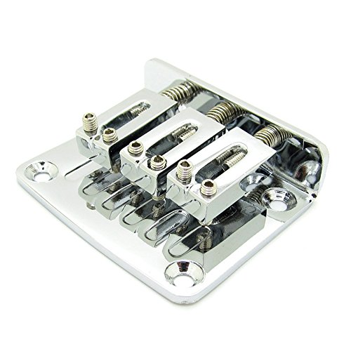 Adjustable 3 String Guitar Tailpiece Bridge Guitar Parts Chrome by JIUWU (Image #1)