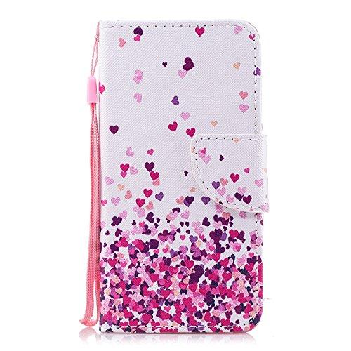 Funda para Xiaomi Redmi 5A , IJIA Romántico Amor-Corazón TPU + PU Cuero Ranuras para Tarjetas de Crédito Flip Caja [Estilo Libro,Soporte Plegable ] Cover Tapa Caso Parachoques Carcasa Cubierta Shell p