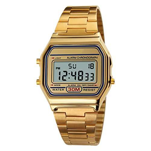 VIGOROSO Men Lady Vintage Retro Gold Stainless Steel Digital Casual Watch Alarm Stopwatch(Gold)