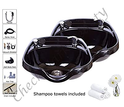 Shampoo Bowls Black ABS Plastic Salon and Spa Hair Sink Beauty Salon Equipment TLC-B12-KRGT2