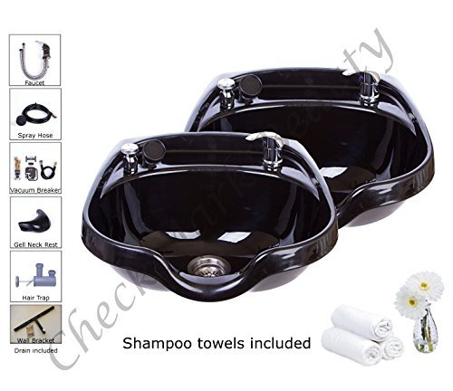 Shampoo Bowls Black ABS Plastic Salon and Spa Hair Sink B...