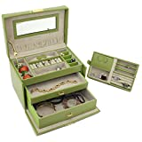 Jewelry Box Genuine Leather Lime Green Large With Travel Case by Tech Swiss