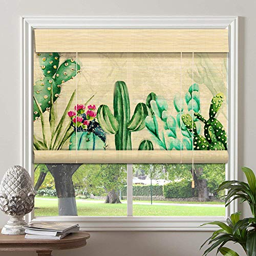 PASSENGER PIGEON Bamboo Roller Shades, Patterned Printed, Light Filtering Roll Up Shades Blinds with Valance, for Windows, Doors 34″ W x 48″ L, Pattern-17