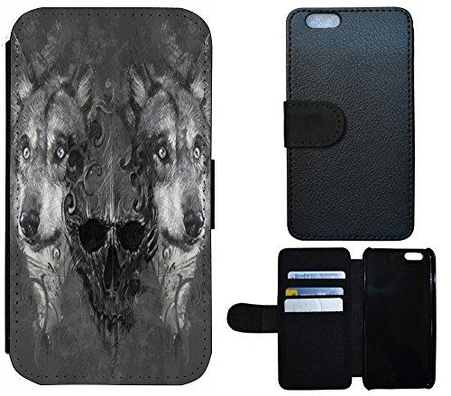 Flip Cover Schutz Hülle Handy Tasche Etui Case für (Apple iPhone 6 / 6s, 1295 Wolf Wölfe Totenkopf Schwarz Grau)