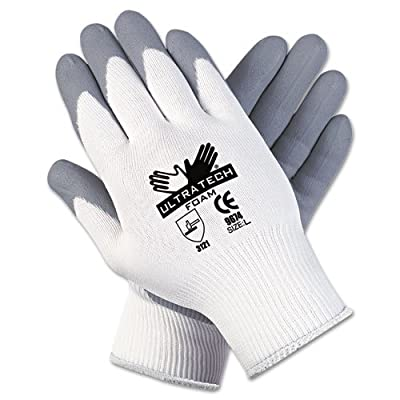 Memphis Ultra Tech Foam Seamless Nylon Knit Gloves, Large, White/Gray - Includes one dozen.