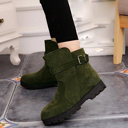 Tefamore Zapatos Planos de Mujer Cargadores de Martin Botines Botas de Nieve Retro Cabeza Redonda Otoño Invierno Verde