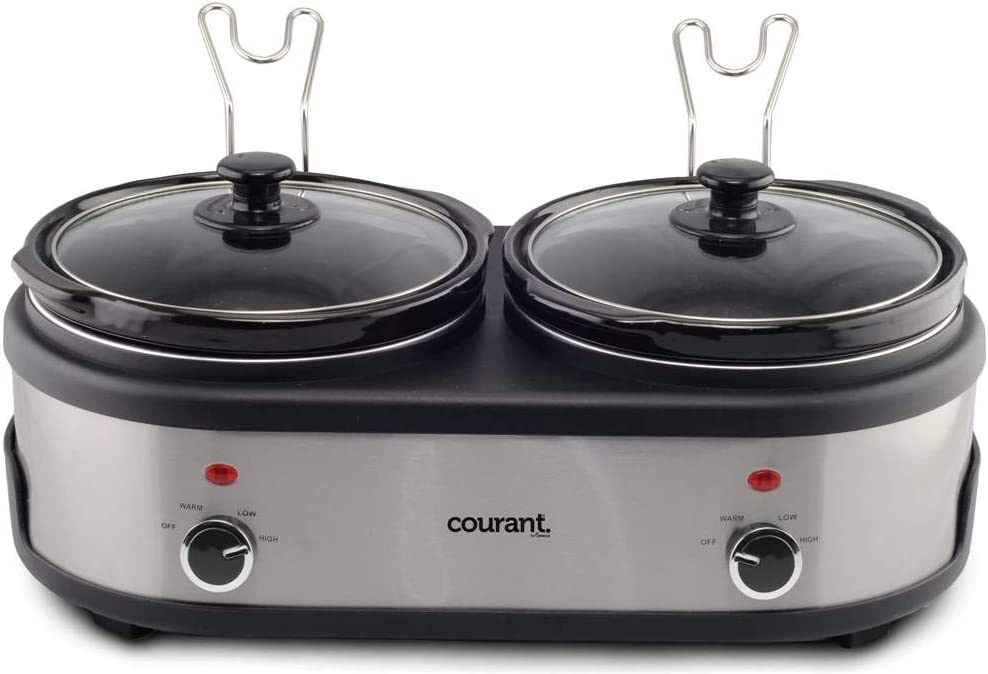 Courant Double Slow Cooker 2.5 Quart Crock each, 5.0 Quart Total Pots, with Individual Easy Cooking Options, Dishwasher Safe Stainproof Stoneware Pots and Glass Lids, Stainless Steel