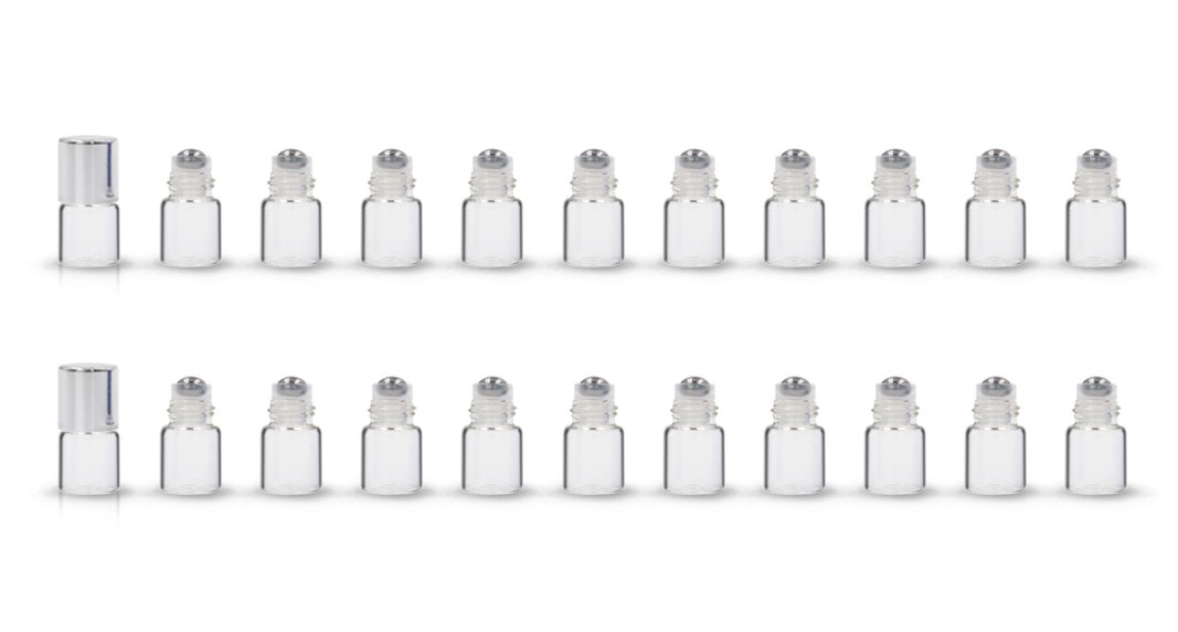ZbFwmx 20 Pack Set 1ML Mini Sample Roll Glass Bottles for Essential Oils Roller Refillable Perfume Roll Bottle (Pure-Sliver)
