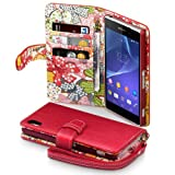 Sony Xperia Z2 Case, Terrapin [Red] [Lily Floral Interior] Textured PU Leather Wallet Case with Card Slots, Cash Compartment and Detachable Wrist Strap for Sony Xperia Z2 - Red