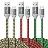 Micro USB Cable, 3 pcs (10ft/3M) Fasgear Nylon Braided Tangle-Free Fast Charging Data Colorful Cable with Metal Connectors for Android, Samsung Galaxy S7/S7 Edge, s6 and More(Gold,Red,Green)