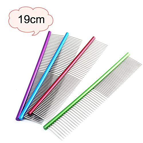 Glumes 19cm Stainless Steel Comb Pet Grooming Brush Anti-Static Hair Shedding Comb for Long Hair Dog & Cat with Different Spaced Rounded Teeth,Wide Trimmer Comb by Glumes (Image #6)