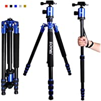 Zomei Camera Tripod 65-inch Lightweight Tripod, Monopod Tripod, Aluminum Portable Detachable Monopod, 360 degree Ball Head, 1/4 Quick Release Plate with Carrying Bag for Canon Nikon Sony Load (Blue)
