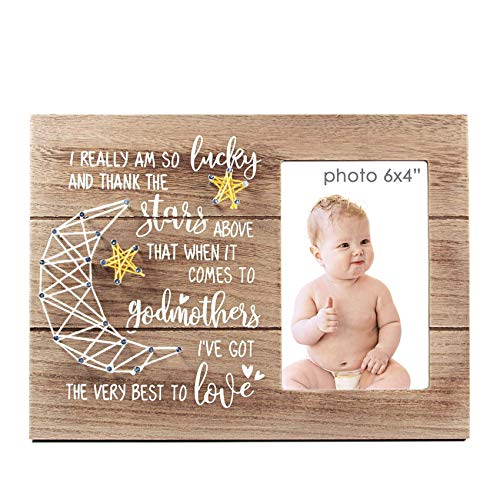 VILIGHT Godmother Gifts - Rustic Baptism Picture Frame for Godmom - 4x6 Inches Photo (Godparent Picture Frame)