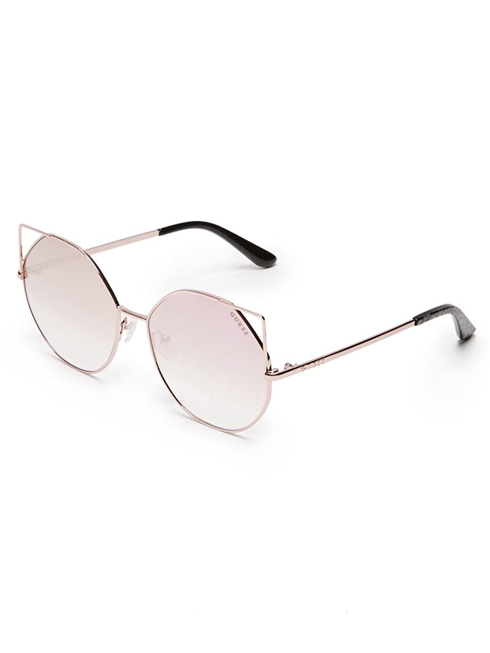 Guess Metal Peaked Round Sunglasses in Shiny Rose Gold Pink GU7527 28Z 58 GU7527A
