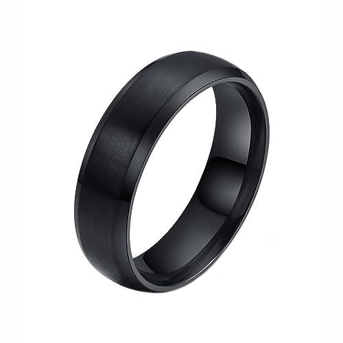 6 mm Mens acero inoxidable negro liso mate acabado boda banda anillo de compromiso matrimonio