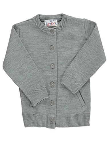 Cookie's Brand Big Girls' Crewneck Cardigan Sweater - Gray, 7 by Cookie's Kids