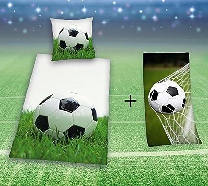 Kk Ropa de Cama Fútbol 135x200 Cm con Toalla de Ducha 75x150 Cm